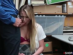 Blonde petite teen busted and banged by a security guy