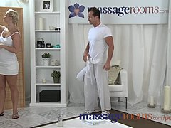 Mbootyage Rooms meaty developed sandy colored milks masseuse's stiff penis with her ass