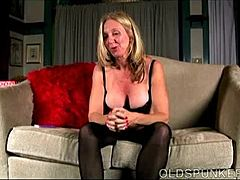 Impish old spunker has a fun to talk unashamed and scene with her luscious twat Mature Porn