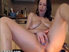 Gross wide-eyed titties brown-haired mamma sticks into enormous Dildos In cunt And wazoo